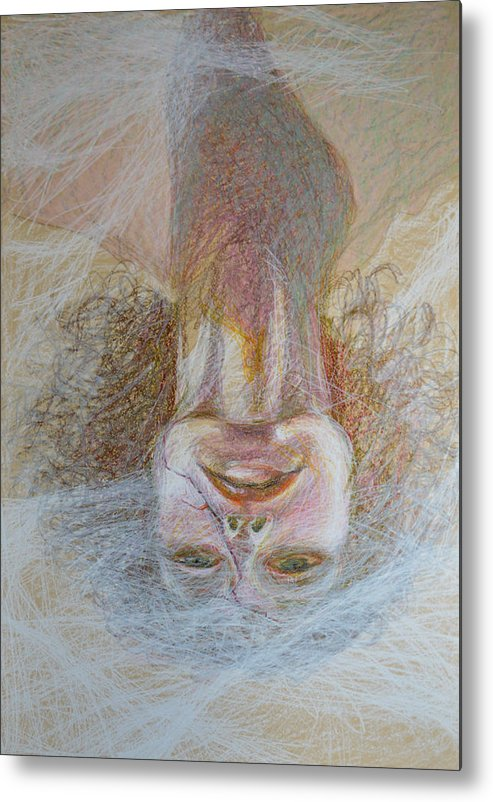 Abstract Modern Raw Folk Outsider Portrait Lady Woman Face Yellow Pink Green Upside Down Fog Foggy Metal Print featuring the painting Cracked Down by Nancy Mauerman
