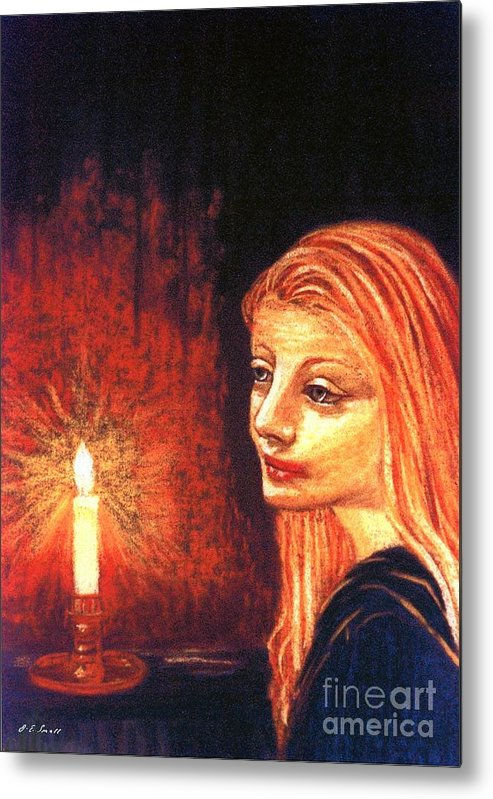 Candle Metal Print featuring the painting Evening Prayer by Jane Small