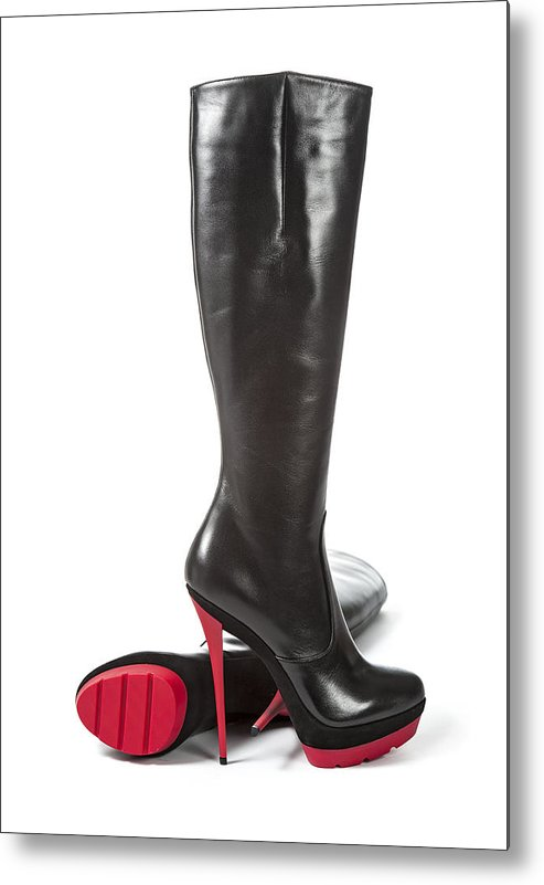 sports shoes ffad9 f91a6 Fancy Platform High Heels Boots With Red Sole Metal Print