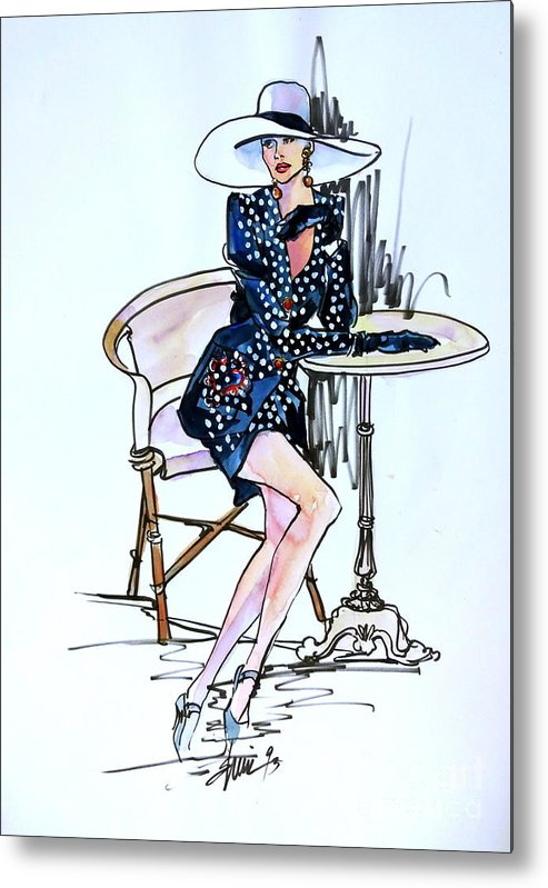 Women Metal Print featuring the painting Fashionably Waiting by Sherri Crabtree