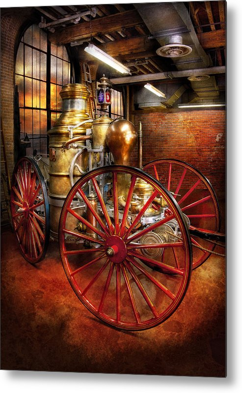 Suburbanscenes Metal Print featuring the photograph Fireman - One Day A Long Time Ago by Mike Savad