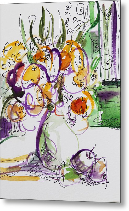 Flowers Metal Print featuring the painting Flowers With Purple Hint by Becky Kim