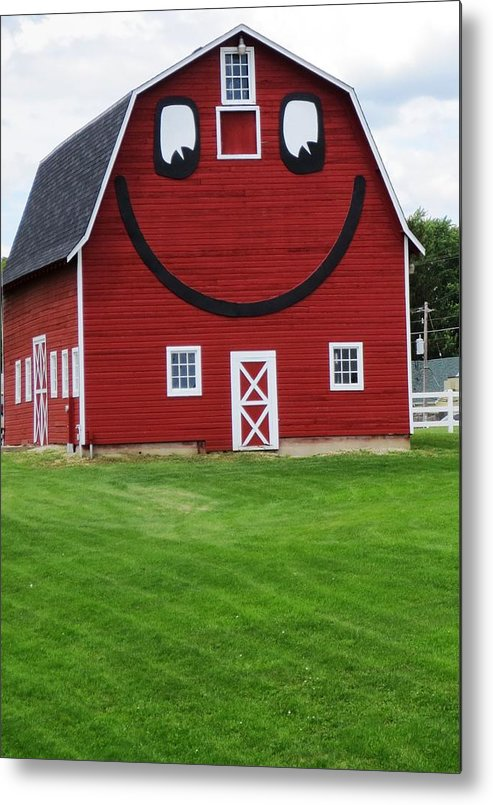 Rugged Metal Print featuring the photograph Happy Red Barn by Jennifer Fliegel