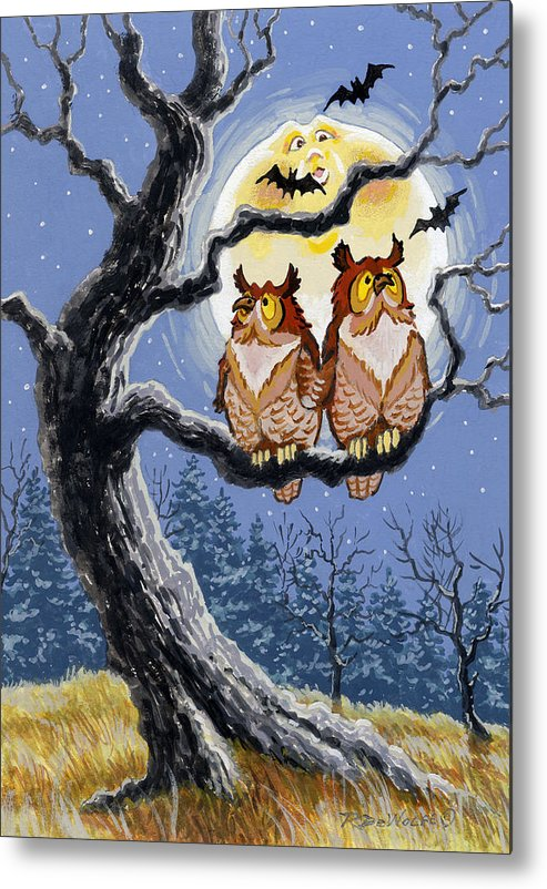 Halloween Metal Print featuring the painting Hooty Whos There by Richard De Wolfe