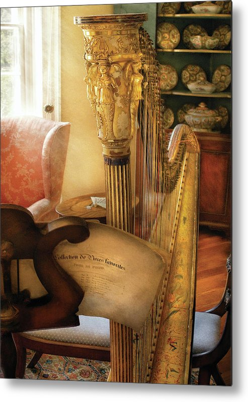 Savad Metal Print featuring the photograph Music - Harp - The Harp by Mike Savad