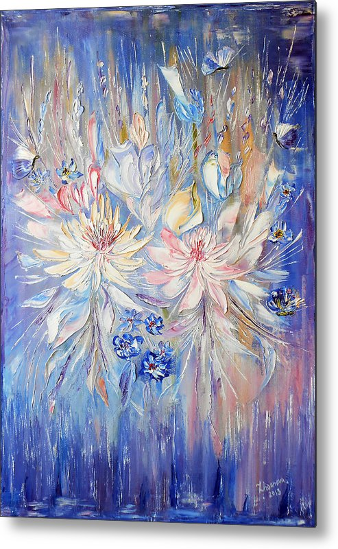 Original Modern Palette Knife Abstract Oil Painting Handmade Lilac Waltz Of  Flowers With Butterflies Metal Print