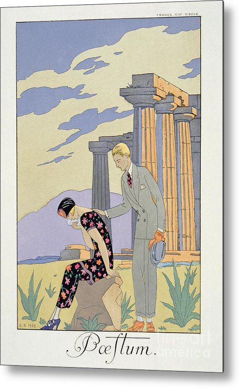 Crying Metal Print featuring the painting Paestum by Georges Barbier
