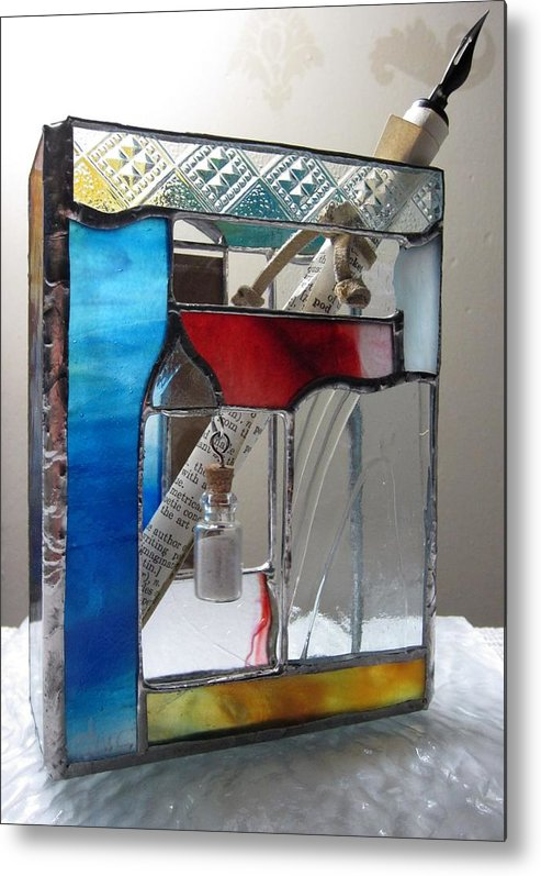 Metal Print featuring the painting Poet Windowsill Box - Other View by Karin Thue