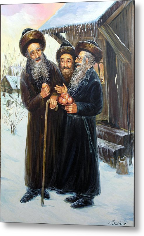 Landscape Metal Print featuring the painting Scenes Of Jewish Life 4 by Haim Buhel