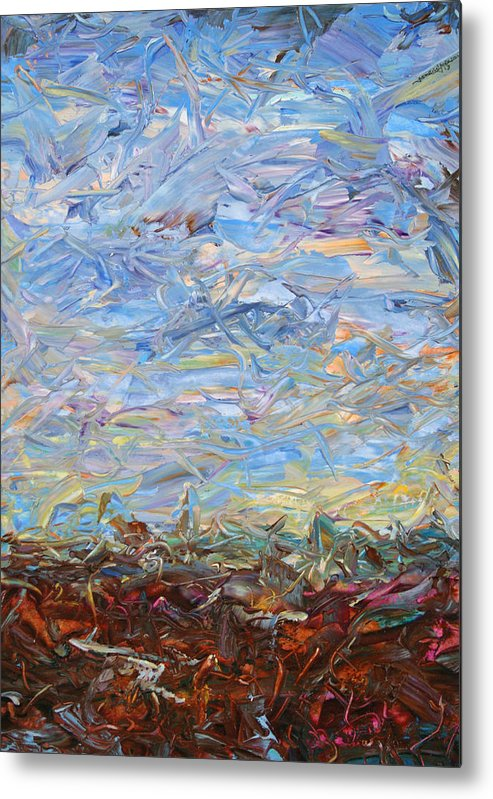 Landscape Metal Print featuring the painting Soil Turmoil by James W Johnson