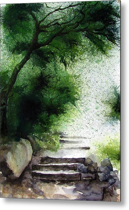 Water Colour Metal Print featuring the painting Stairway To Heaven... At Nandi Hills by Soman Patnaik