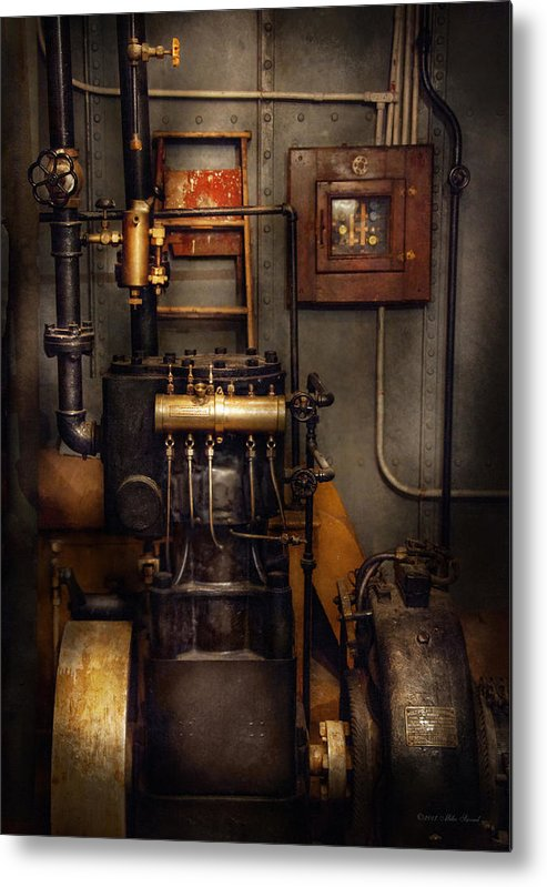 Hdr Metal Print featuring the photograph Steampunk - Back In The Engine Room by Mike Savad