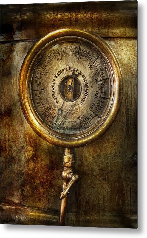 Hdr Metal Print featuring the photograph Steampunk - The Pressure Gauge by Mike Savad