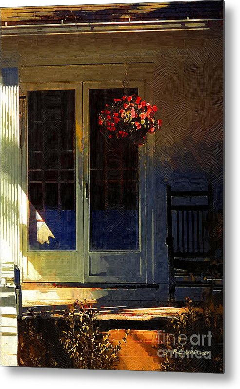 House Metal Print featuring the painting Sunlight On Scarlet - New England Autumn by RC DeWinter