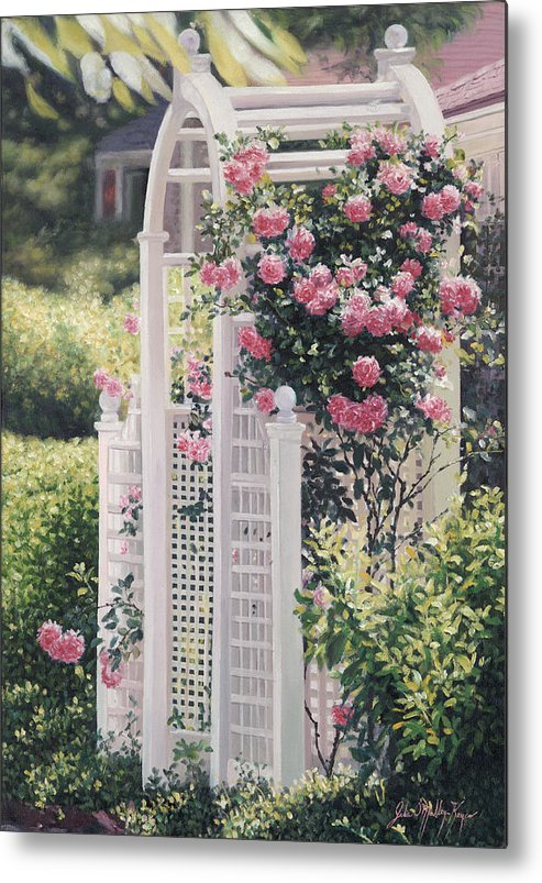The Wauwinet Metal Print featuring the painting The Rose Arbor The Wauwinet by Julia O'Malley-Keyes