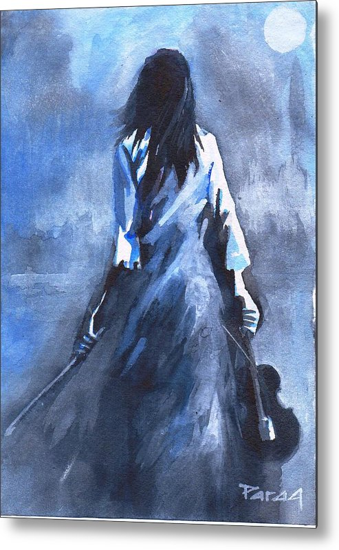 Metal Print featuring the drawing The Solo Performer by Parag Pendharkar