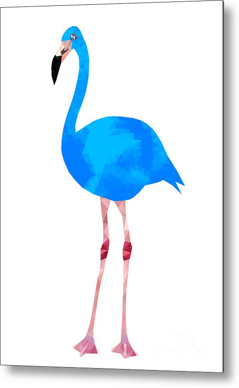 Embellishment Metal Print featuring the digital art Vibrant Dark Blue Flamingo Bird Low by Samantha Jo