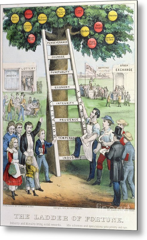 The Ladder Of Fortune Metal Print featuring the painting The Ladder Of Fortune by Currier and Ives