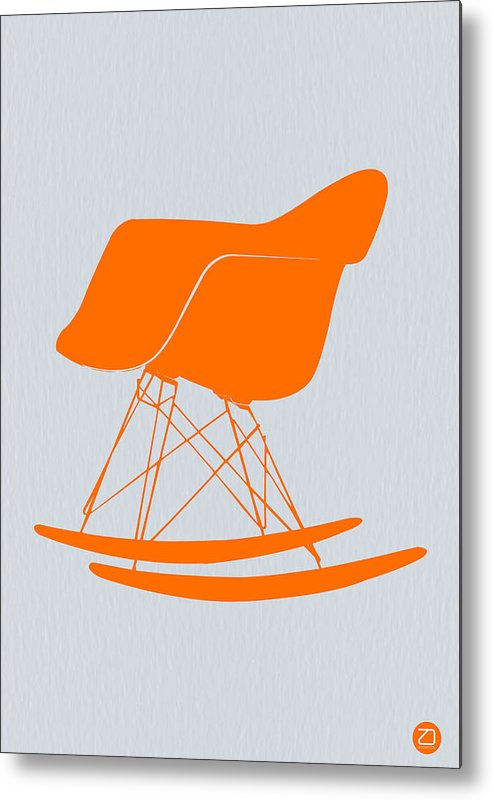 Eames Chair Metal Print featuring the photograph Eames Rocking Chair Orange by Naxart Studio