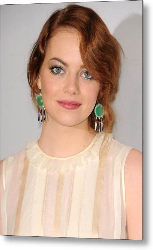 Emma Stone Metal Print featuring the photograph Emma Stone Wearing Irene Neuwirth by Everett