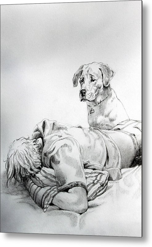 Dog Metal Print featuring the drawing Empathy by Hanne Lore Koehler