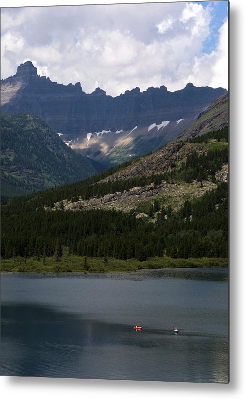Red And Blue Kayakers Metal Print featuring the photograph Kayaks On Swiftcurrent Lake by Lorraine Devon Wilke