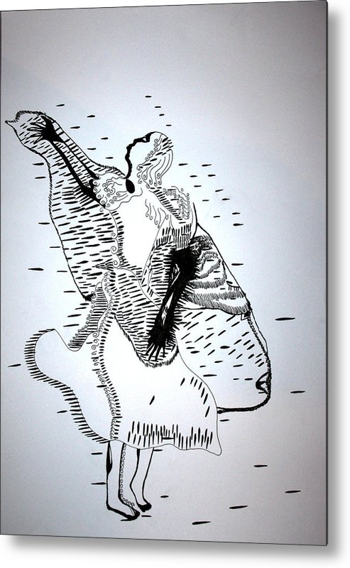 Jesus Metal Print featuring the drawing Moutia Dance - Seychelles by Gloria Ssali