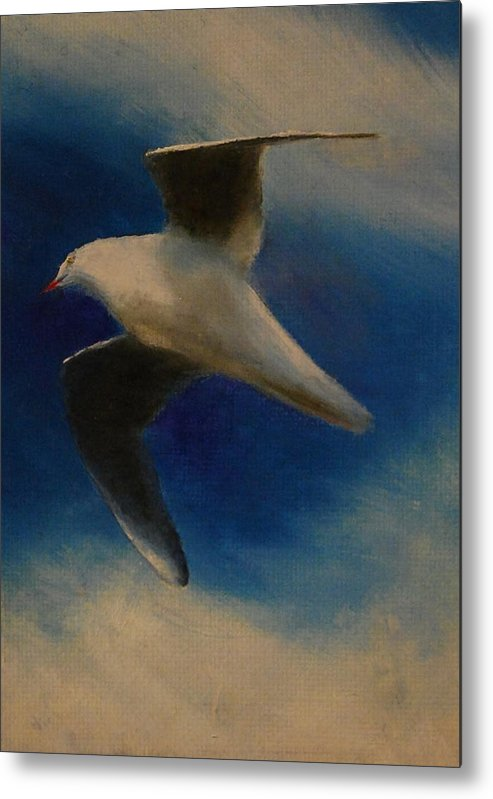 Seagull Metal Print featuring the painting No Limits by Lynn Hughes