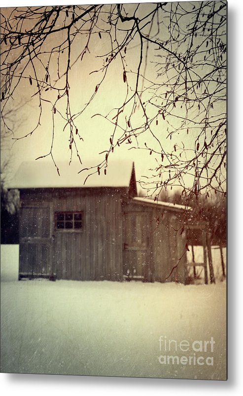 Atmospheric Metal Print featuring the photograph Old Shed In Wintertime by Sandra Cunningham