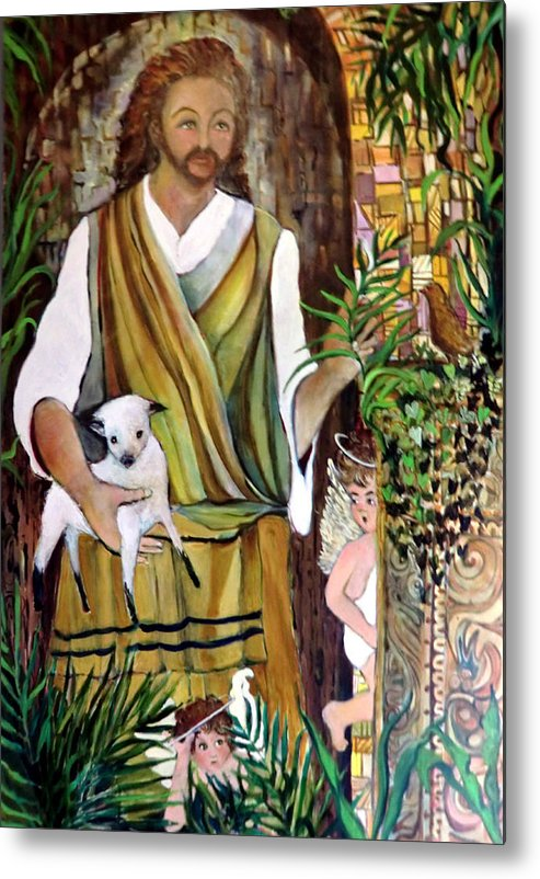 Jesus Metal Print featuring the painting The Good Shephard At The Door by Mindy Newman