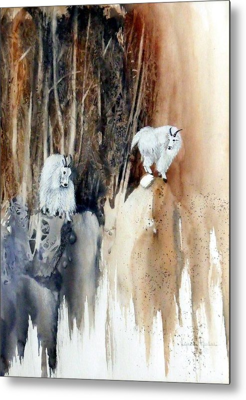Mt. Goats Metal Print featuring the painting Its Not That Far by Lynne Parker