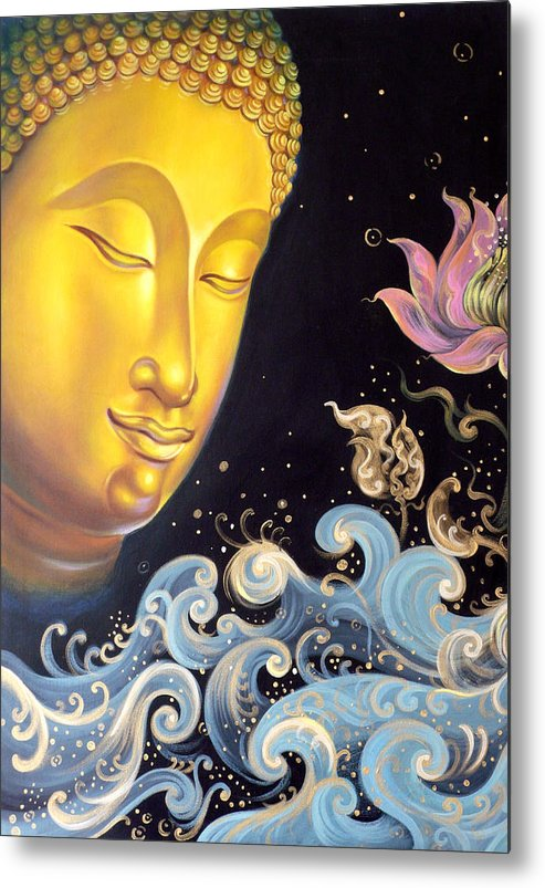 Acrylic Metal Print featuring the painting The Light Of Buddhism by Chonkhet Phanwichien