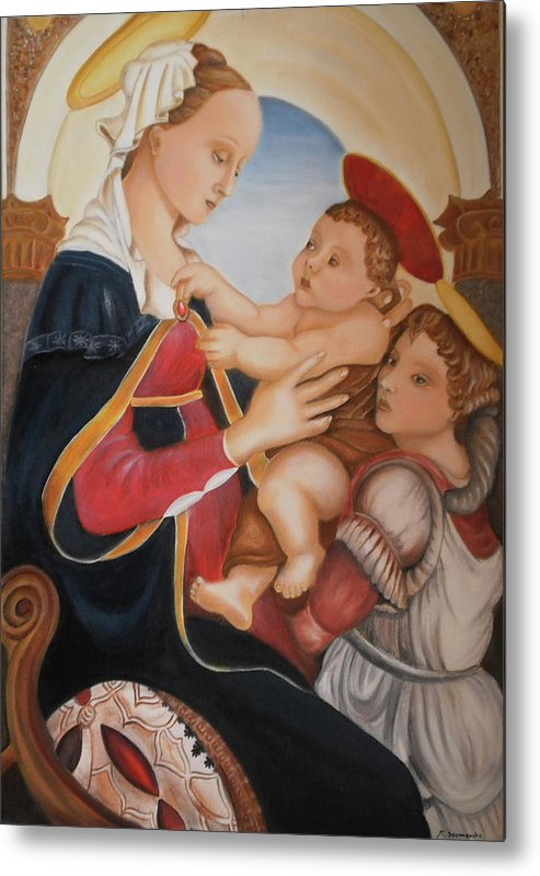 Art Metal Print featuring the painting after Botticelli Madonna con il Bambino e un Angelo by M S