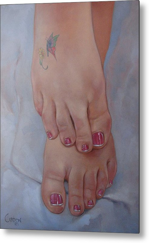 Pretty Feet Metal Print featuring the painting Aimee by Jerrold Carton