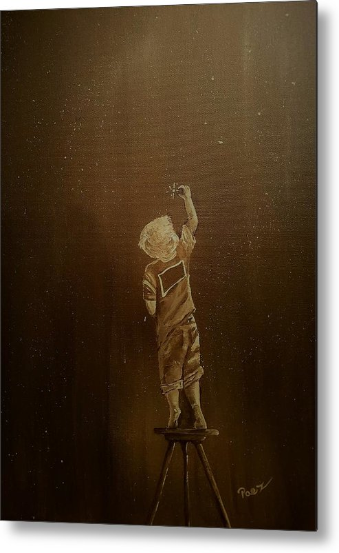 Boy Metal Print featuring the painting Aligning His Stars by Sheli Paez