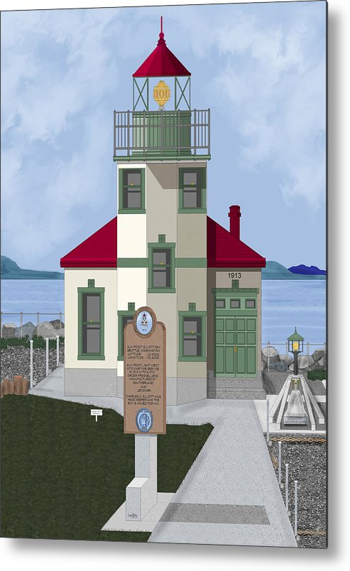 Lighthouse Metal Print featuring the painting Alki Point On Elliott Bay by Anne Norskog