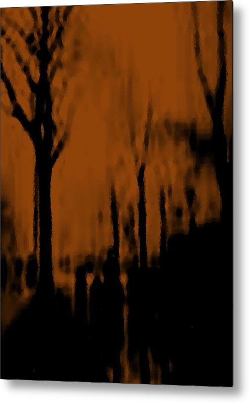 Trees.street.rain.clouds.wet People.the Naked Branches Of The Trees.the Gloomy Light. Metal Print featuring the digital art Autumn Wet Day by Dr Loifer Vladimir
