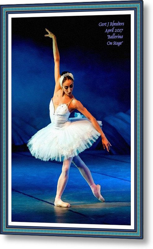 Ballet Metal Print featuring the painting Ballerina On Stage L A With Alt. Decorative Ornate Printed Frame. by Gert J Rheeders
