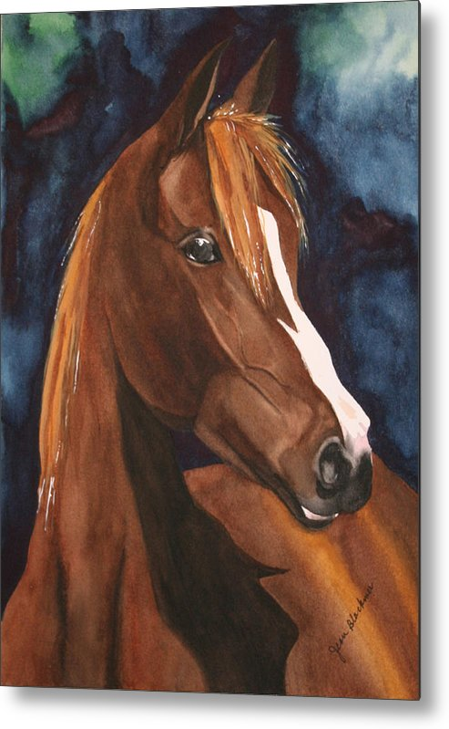 Horse Metal Print featuring the painting Bay On Blue 2 by Jean Blackmer