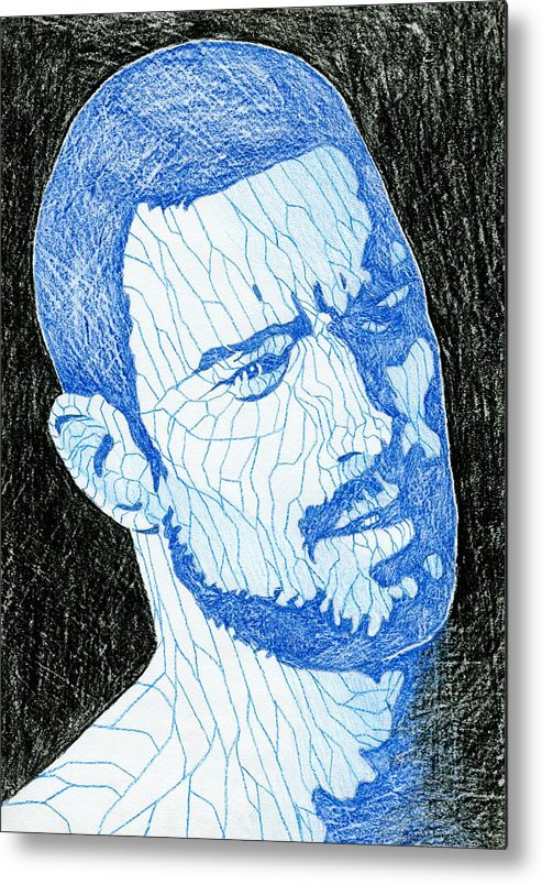 Gay Metal Print featuring the drawing Black And Blue Man Portrait by Anti Quos