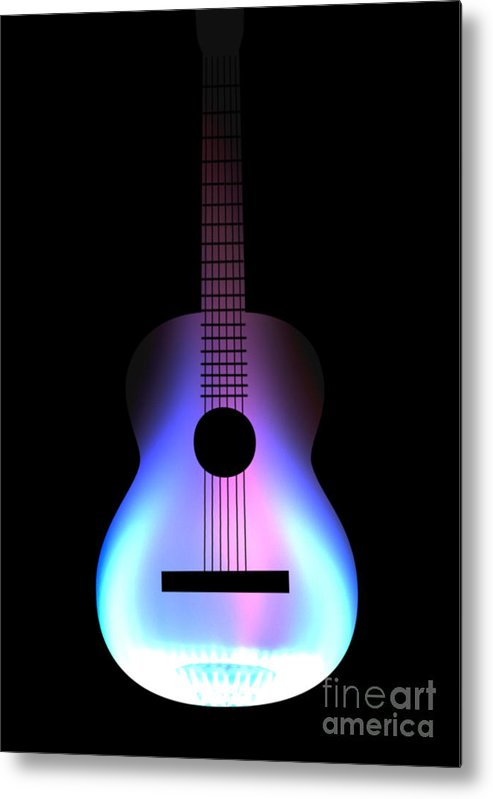 Acoustic Guitar Metal Print featuring the drawing Blues Guitar On Fire by Andy Smy