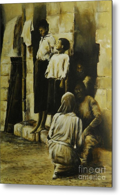 Malta Painting Metal Print featuring the painting Chat by Tony Calleja