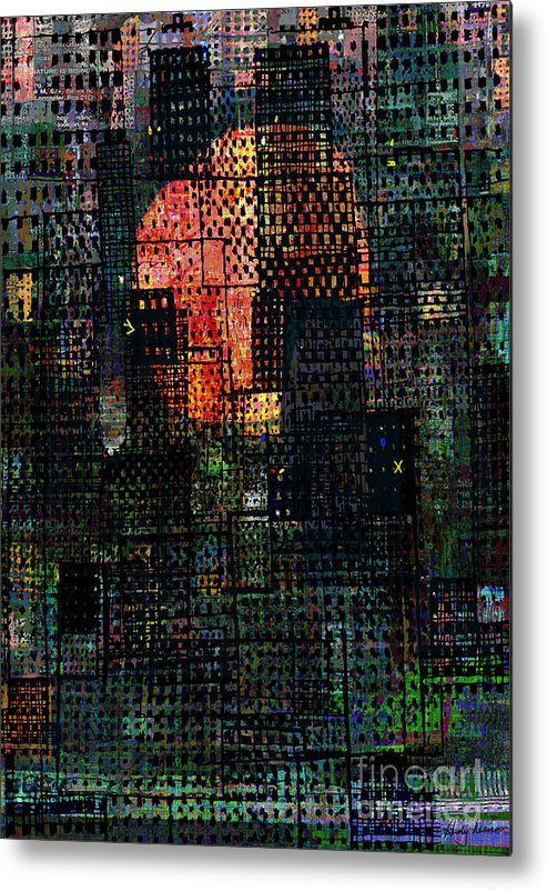 City Metal Print featuring the digital art City Sunset 2010 by Andy Mercer