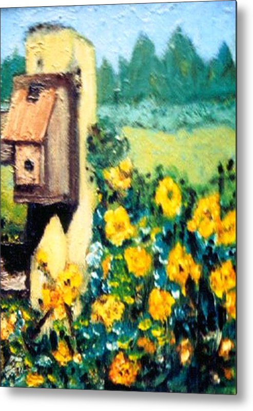 Flowers.bird Feeder Metal Print featuring the painting Country Thumb Print by Gloria M Apfel