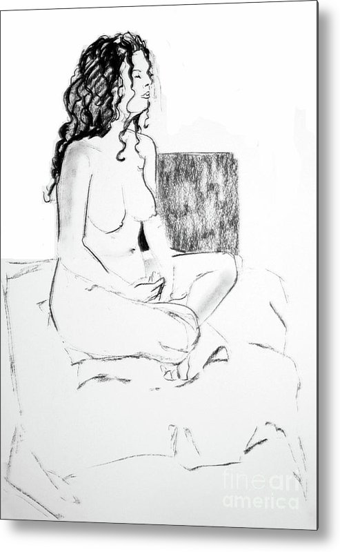 Female Nude Metal Print featuring the drawing Crossed Legged Nude by Joanne Claxton