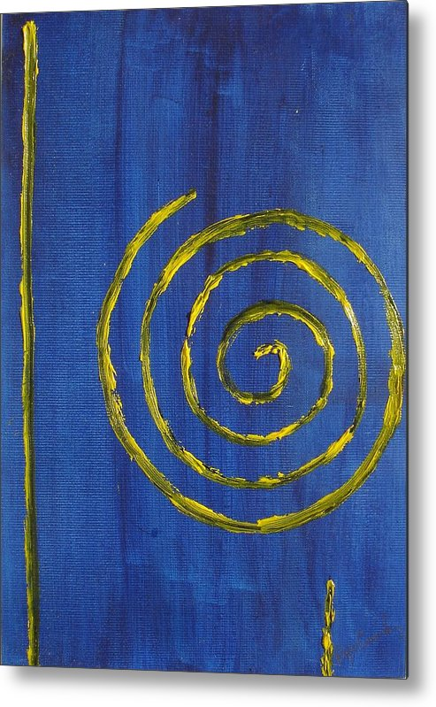 Abstract Oil Painting Metal Print featuring the painting Curlicue Yellow by Roger Cummiskey