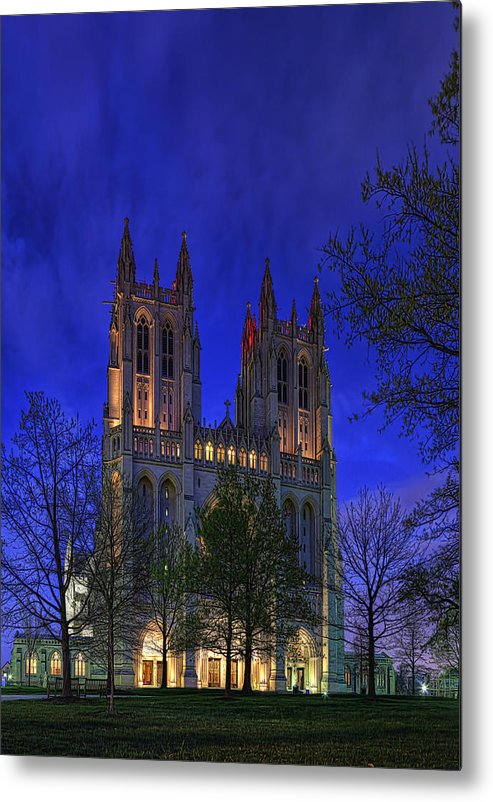 Metro Metal Print featuring the digital art Digital Liquid - Washington National Cathedral After Sunset by Metro DC Photography