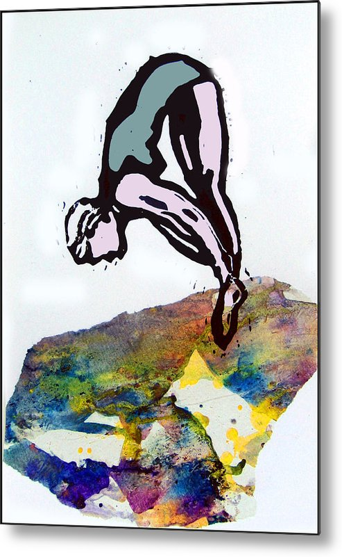 Lino Metal Print featuring the mixed media Dive - Evening Pool by Adam Kissel