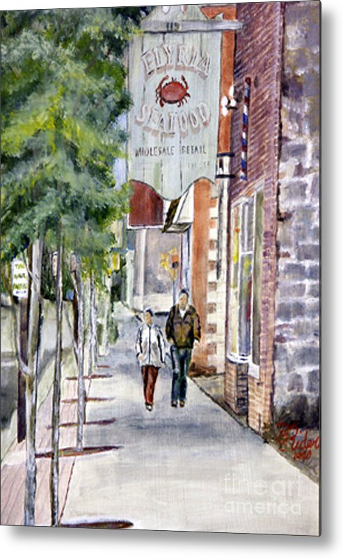 Ohio Metal Print featuring the painting Elyria Seafood by CJ Rider