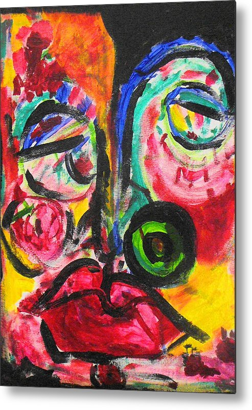Face Metal Print featuring the painting Faces II by Joyce Goldin